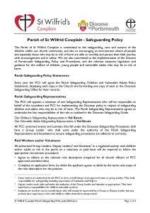 thumbnail of St Wilfrid Cowplain Parish Safeguarding Policy July 2018
