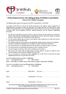 thumbnail of St Wilfrid Cowplain Parish Safeguarding Policy Statement July 2018
