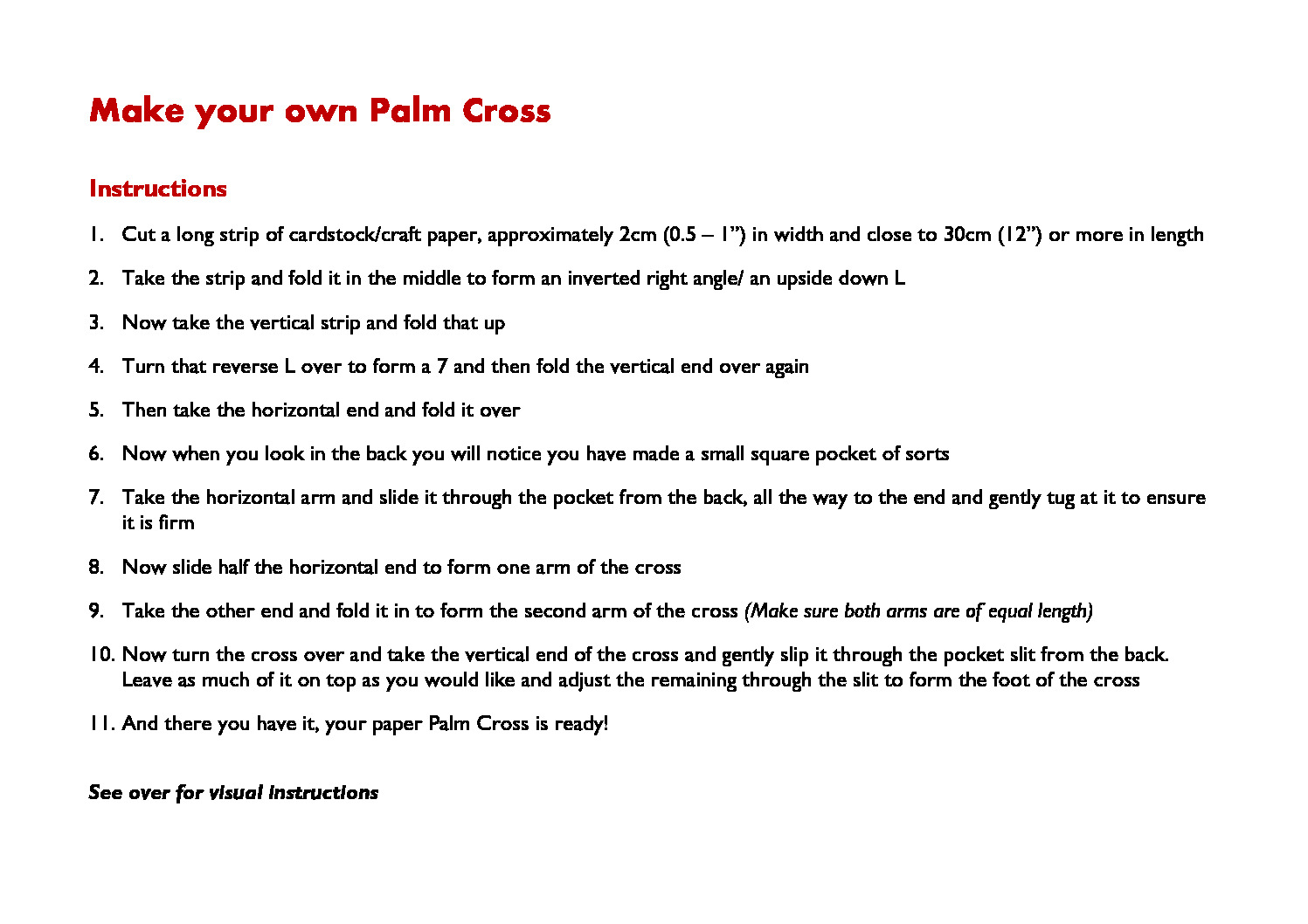 thumbnail of Make your own Palm Cross