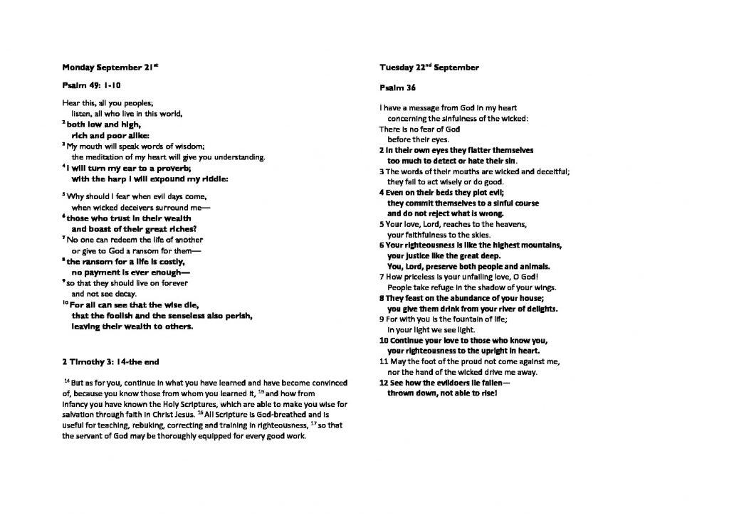 thumbnail of Monday September 21st morning prayer and psalm