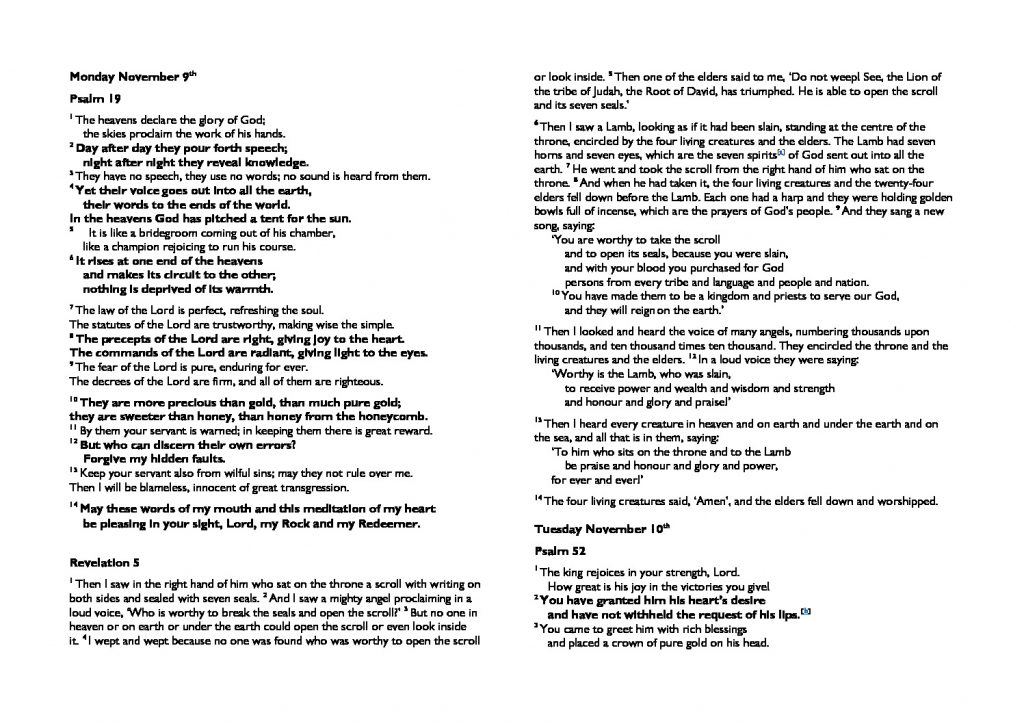 thumbnail of Monday November 9th morning prayer and psalms