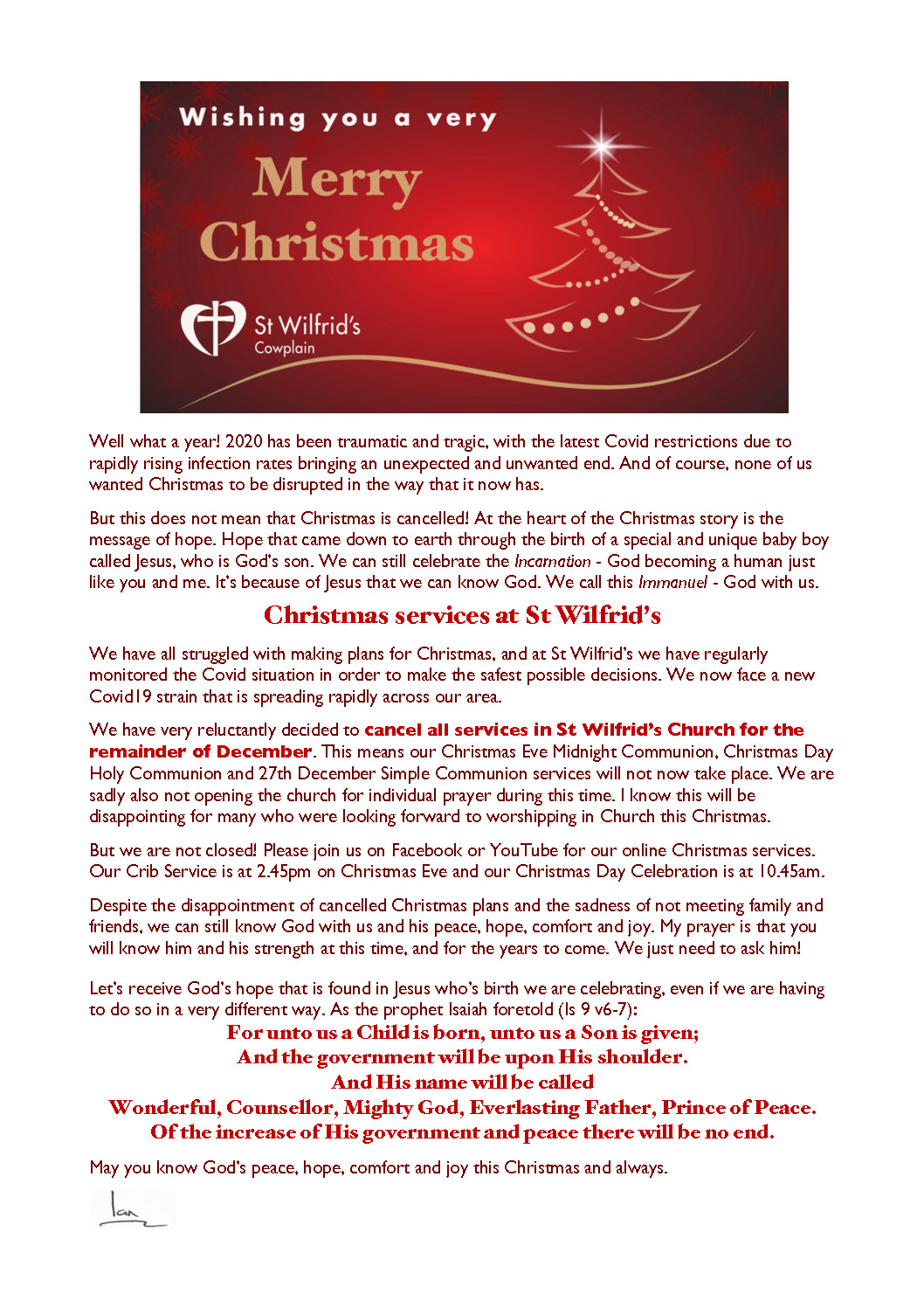 thumbnail of Christmas message 2020