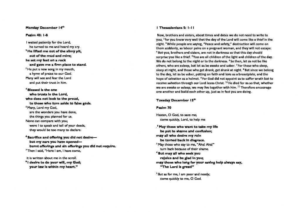 thumbnail of Monday December 14th morning prayer and psalms
