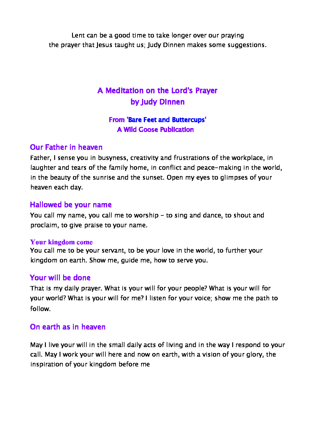 thumbnail of A Meditation on the Lords Prayer – Judy Dinnen