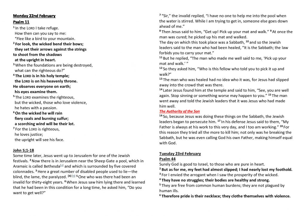 thumbnail of Morning Prayer and Psalms Monday 22nd February-Friday 26th February
