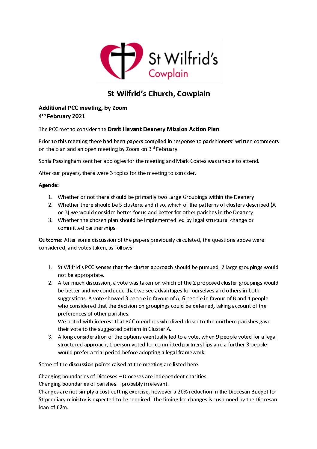 thumbnail of PCC meeting 4Feb2021 – Havant Deanery Plan response
