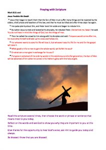 thumbnail of Praying with Scripture – Mark 8 v31-end