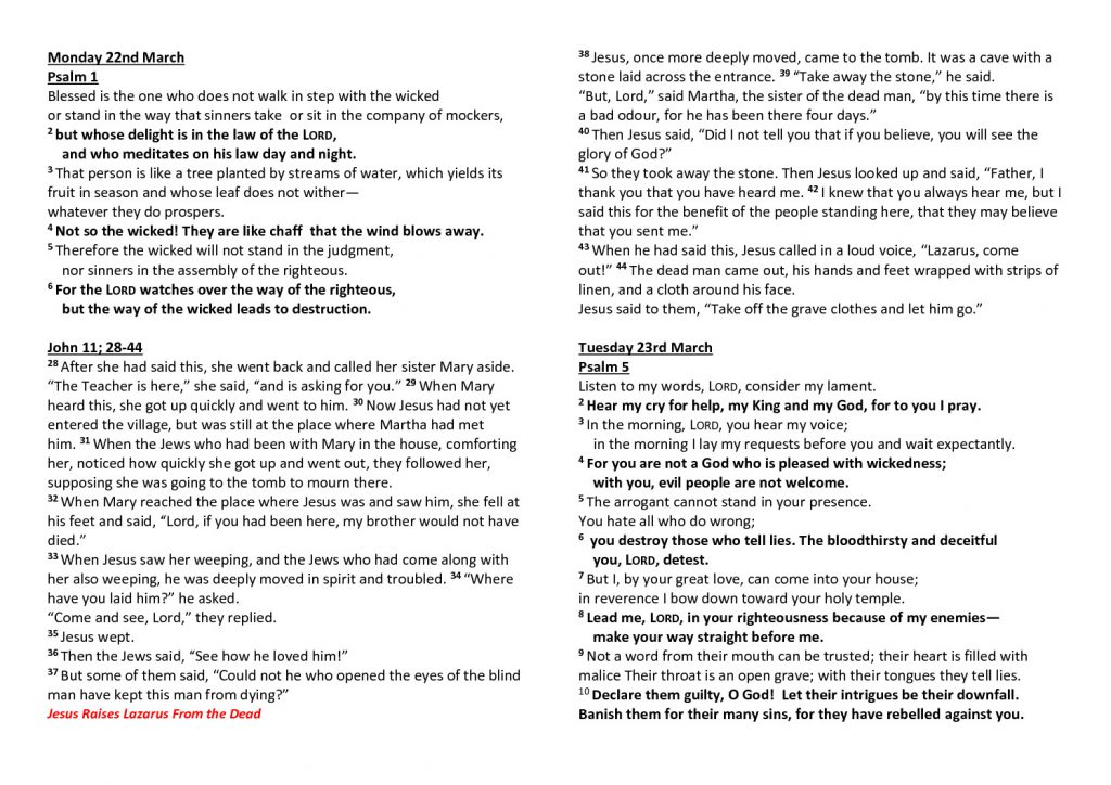 thumbnail of Morning Prayer and Psalms Monday 22nd March -26th March 2021