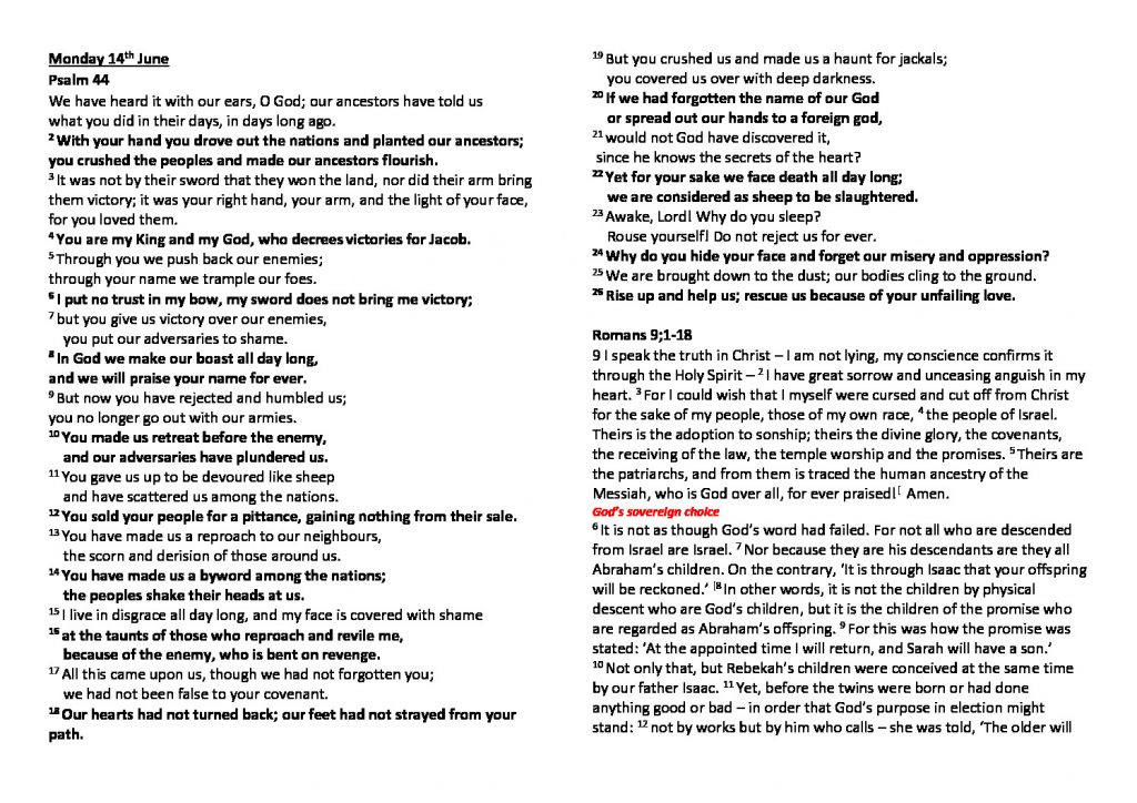 thumbnail of Morning Prayer and Psalms Monday 14th June- Friday 18th June