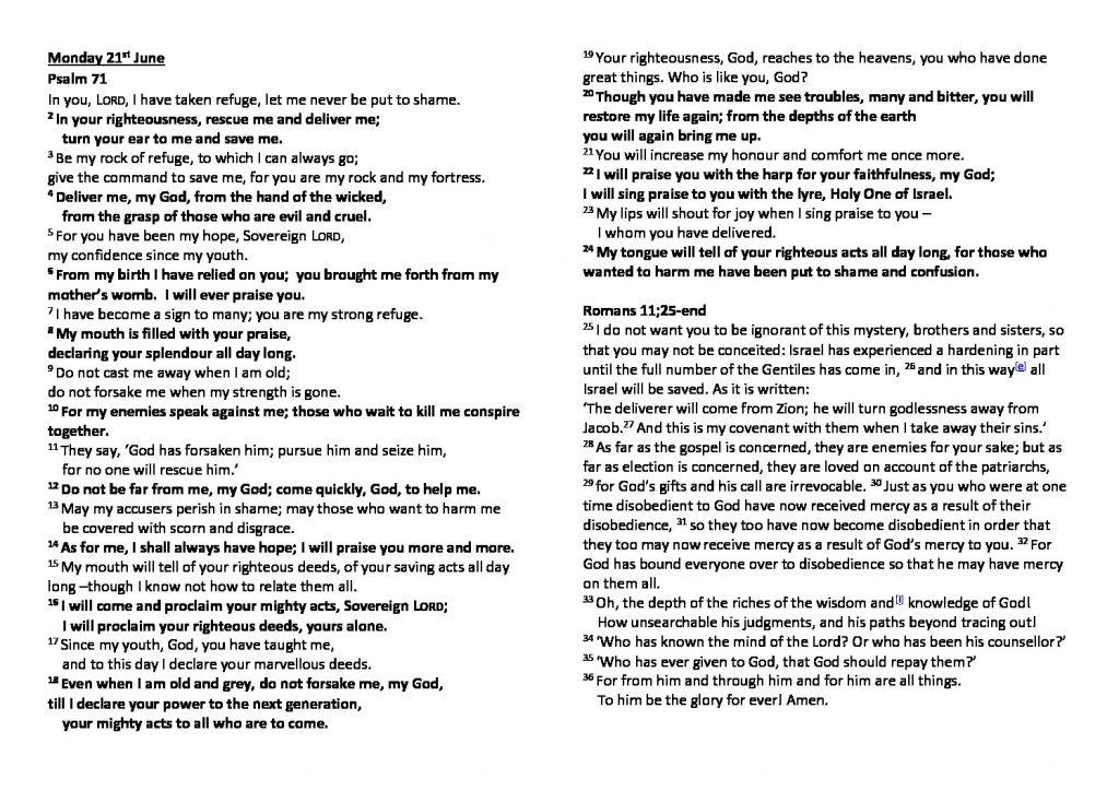 thumbnail of Morning Prayer and Psalms Monday 21st JuneSaturday 26th June